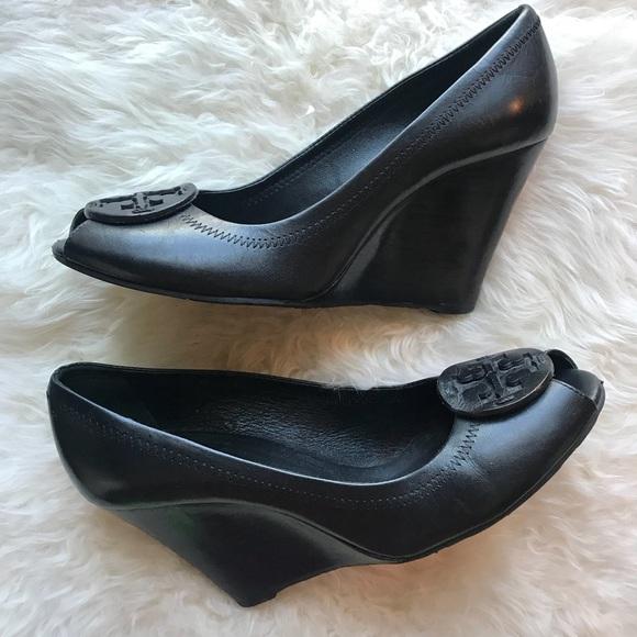 1cac2f63937 Tory Burch Black Wedge Peep Toe Heels. M 5af0f5c62c705d9d1684907a